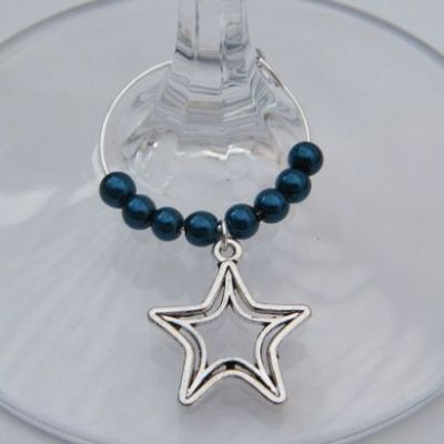 Double Star Outline Wine Glass Charm - Beaded Style